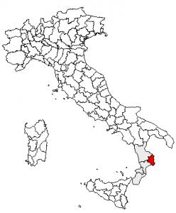 Localização de Crotone na Calábria, Itália